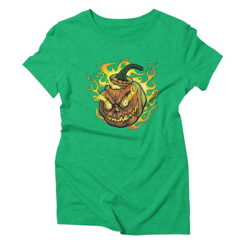 Possessed Jack O' Lantern Women's Triblend T-Shirt by Celtic Hammer Club