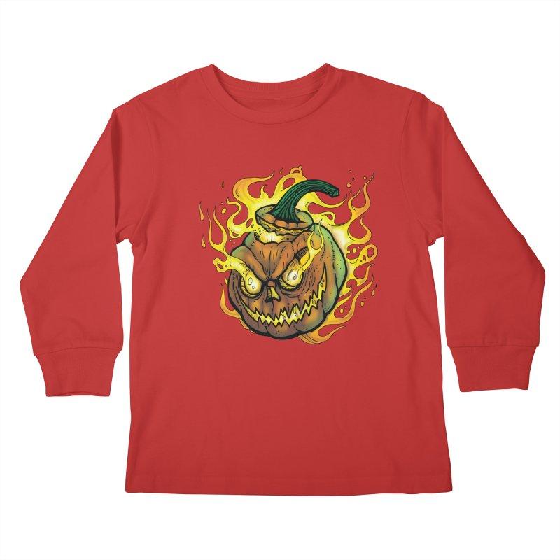 Possessed Jack O' Lantern Kids Longsleeve T-Shirt by Celtic Hammer Club