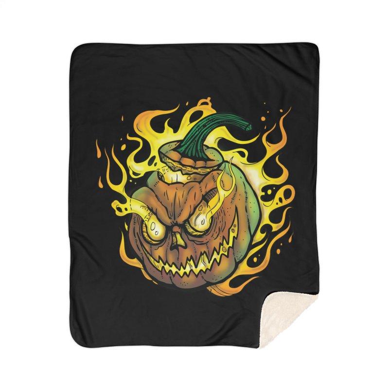 Possessed Jack O' Lantern Home Sherpa Blanket Blanket by Celtic Hammer Club