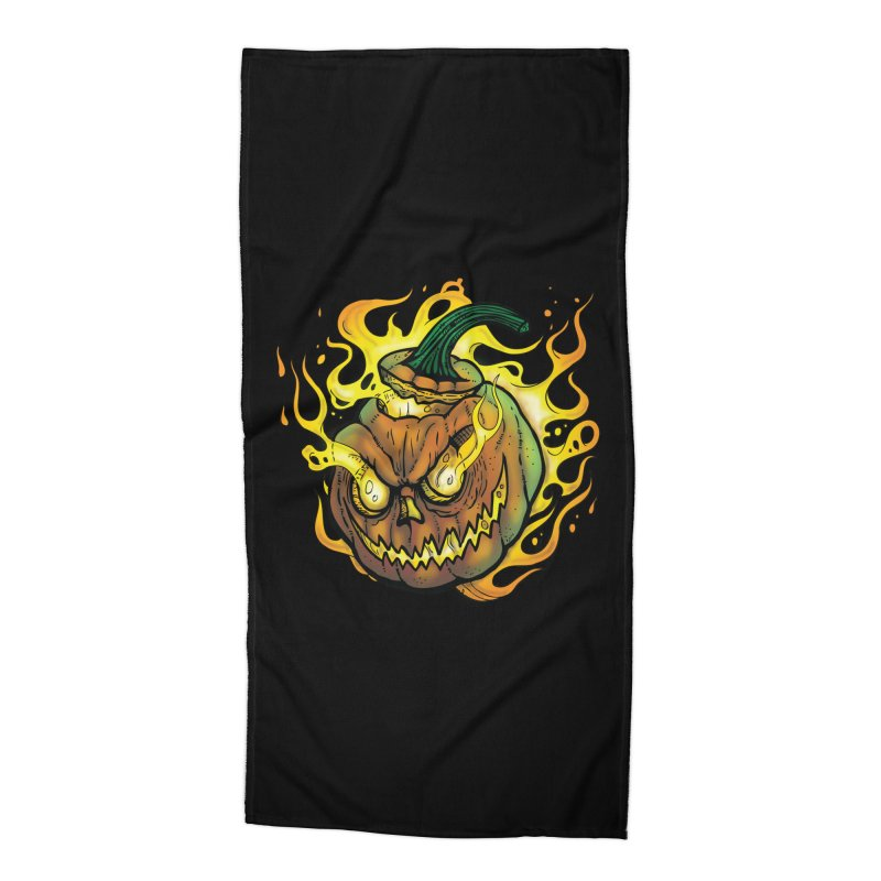 Possessed Jack O' Lantern Accessories Beach Towel by Celtic Hammer Club Apparel