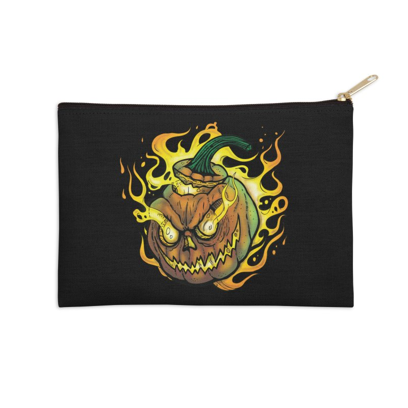 Possessed Jack O' Lantern Accessories Zip Pouch by Celtic Hammer Club