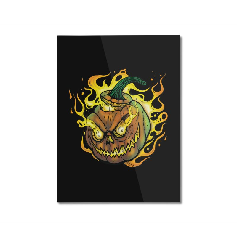 Possessed Jack O' Lantern Home Mounted Aluminum Print by Celtic Hammer Club
