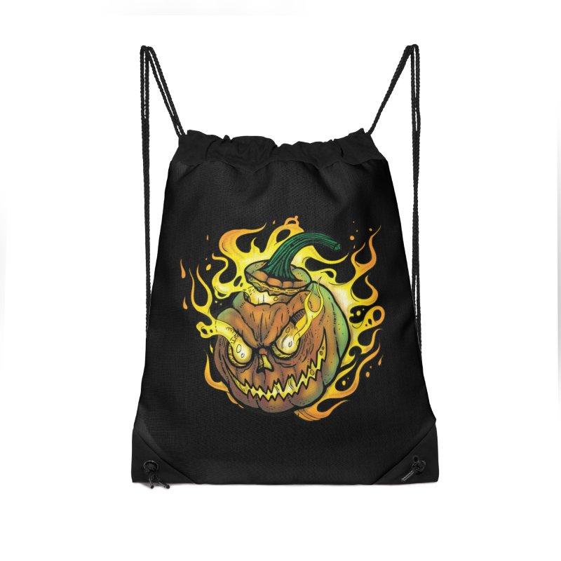 Possessed Jack O' Lantern Accessories Drawstring Bag Bag by Celtic Hammer Club