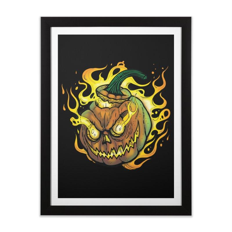 Possessed Jack O' Lantern Home Framed Fine Art Print by Celtic Hammer Club Apparel