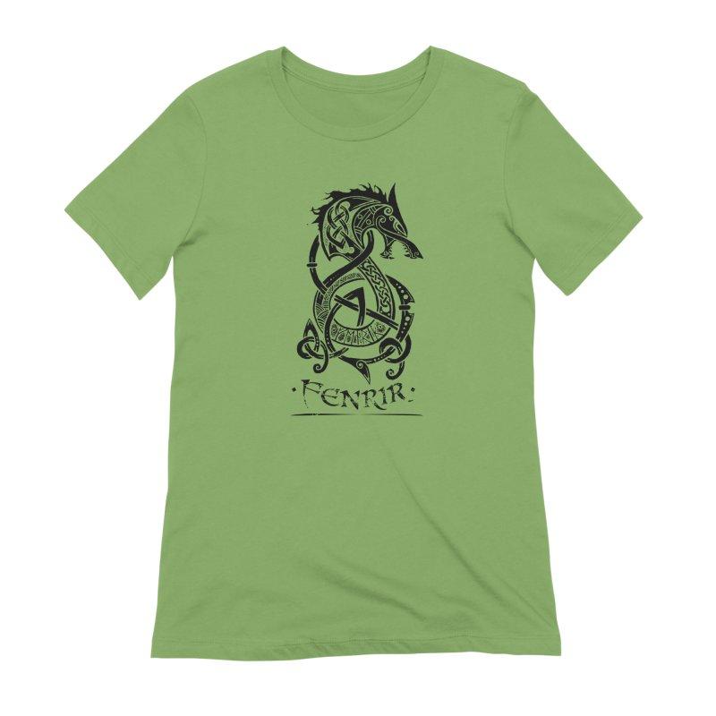 Black Fenrir Wolf Women's T-Shirt by Celtic Hammer Club