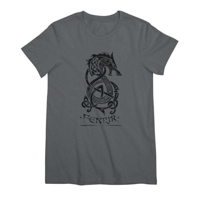 Black Fenrir Wolf Women's Premium T-Shirt by Celtic Hammer Club