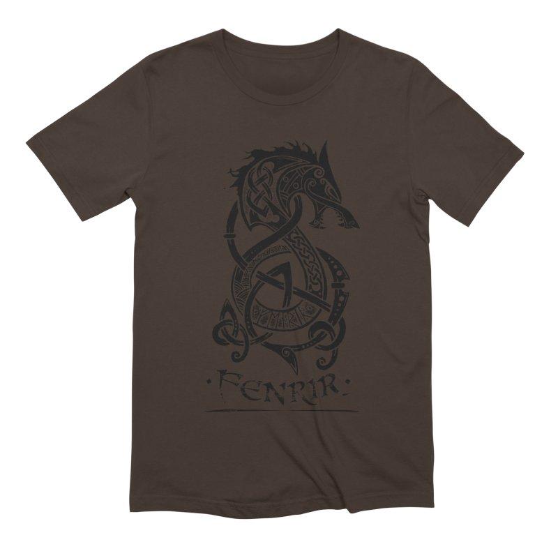 Black Fenrir Wolf Men's T-Shirt by Celtic Hammer Club
