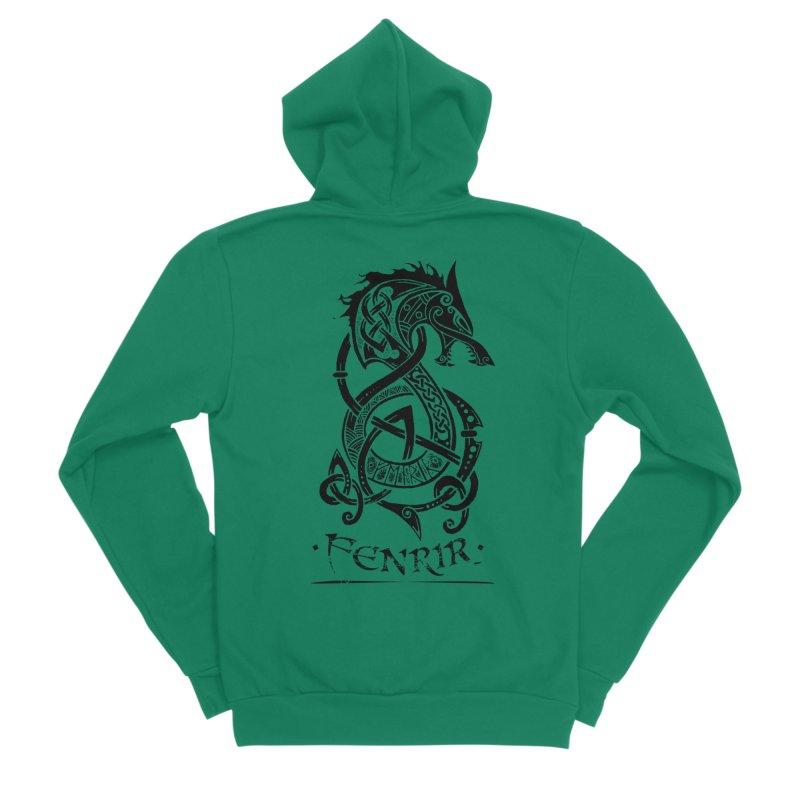 Black Fenrir Wolf Women's Sponge Fleece Zip-Up Hoody by Celtic Hammer Club