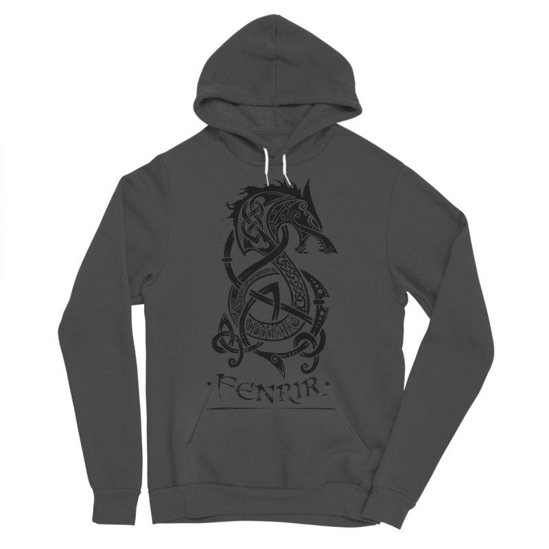 Black Fenrir Wolf Men's Pullover Hoody by Celtic Hammer Club