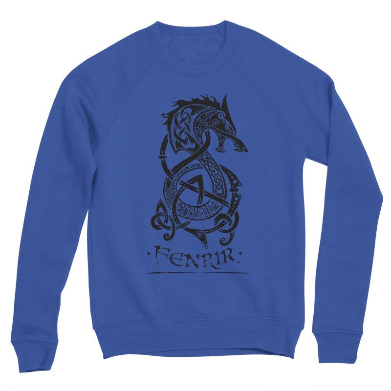 Black Fenrir Wolf Men's Sponge Fleece Sweatshirt by Celtic Hammer Club Apparel