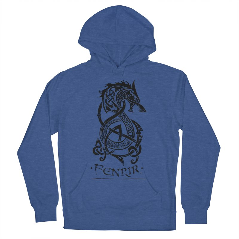 Black Fenrir Wolf Women's French Terry Pullover Hoody by Celtic Hammer Club Apparel