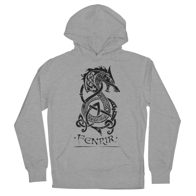 Black Fenrir Wolf Women's French Terry Pullover Hoody by Celtic Hammer Club