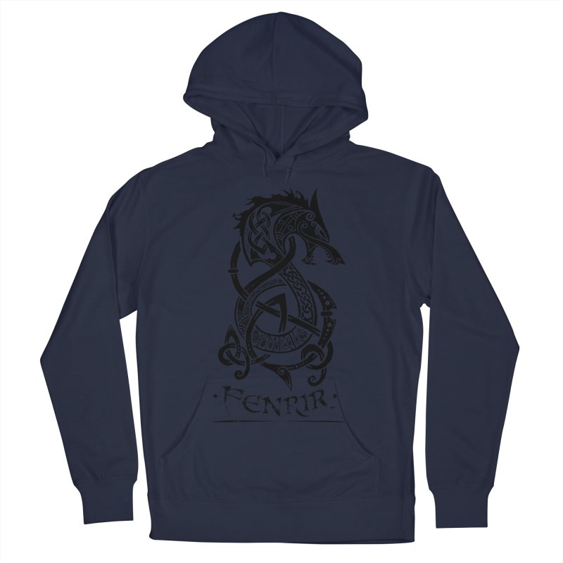 Black Fenrir Wolf Men's French Terry Pullover Hoody by Celtic Hammer Club