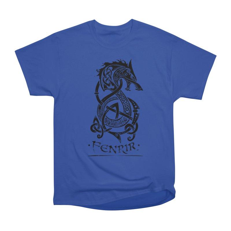 Black Fenrir Wolf Women's Heavyweight Unisex T-Shirt by Celtic Hammer Club Apparel