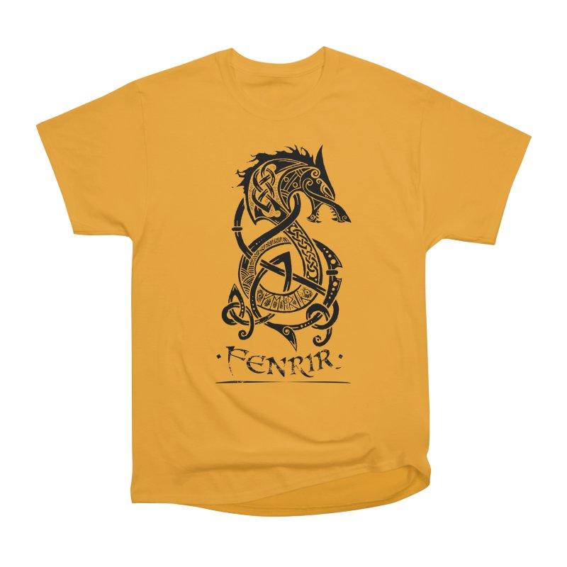 Black Fenrir Wolf Men's Heavyweight T-Shirt by Celtic Hammer Club