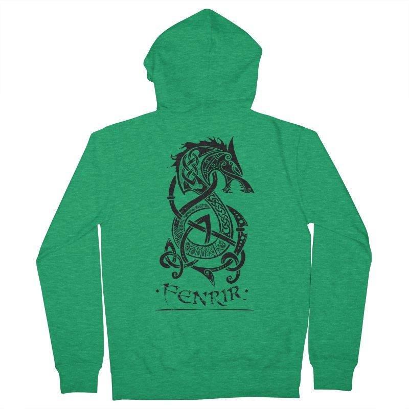 Black Fenrir Wolf Men's Zip-Up Hoody by Celtic Hammer Club