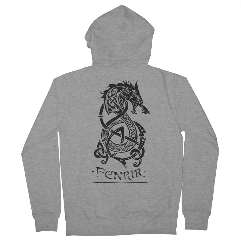 Black Fenrir Wolf Men's French Terry Zip-Up Hoody by Celtic Hammer Club