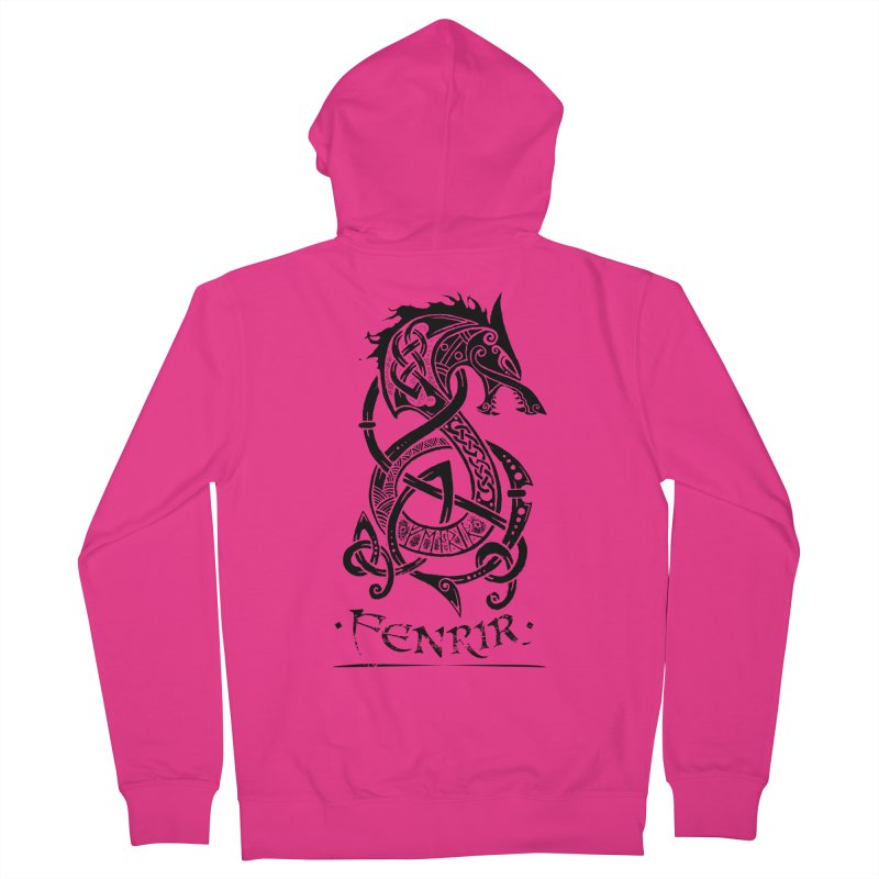 Black Fenrir Wolf Men's French Terry Zip-Up Hoody by Celtic Hammer Club Apparel