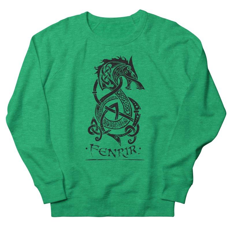 Black Fenrir Wolf Men's French Terry Sweatshirt by Celtic Hammer Club