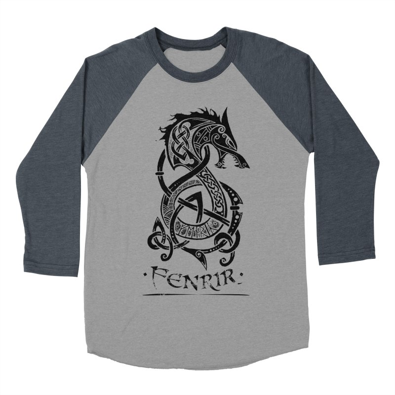 Black Fenrir Wolf Women's Baseball Triblend Longsleeve T-Shirt by Celtic Hammer Club