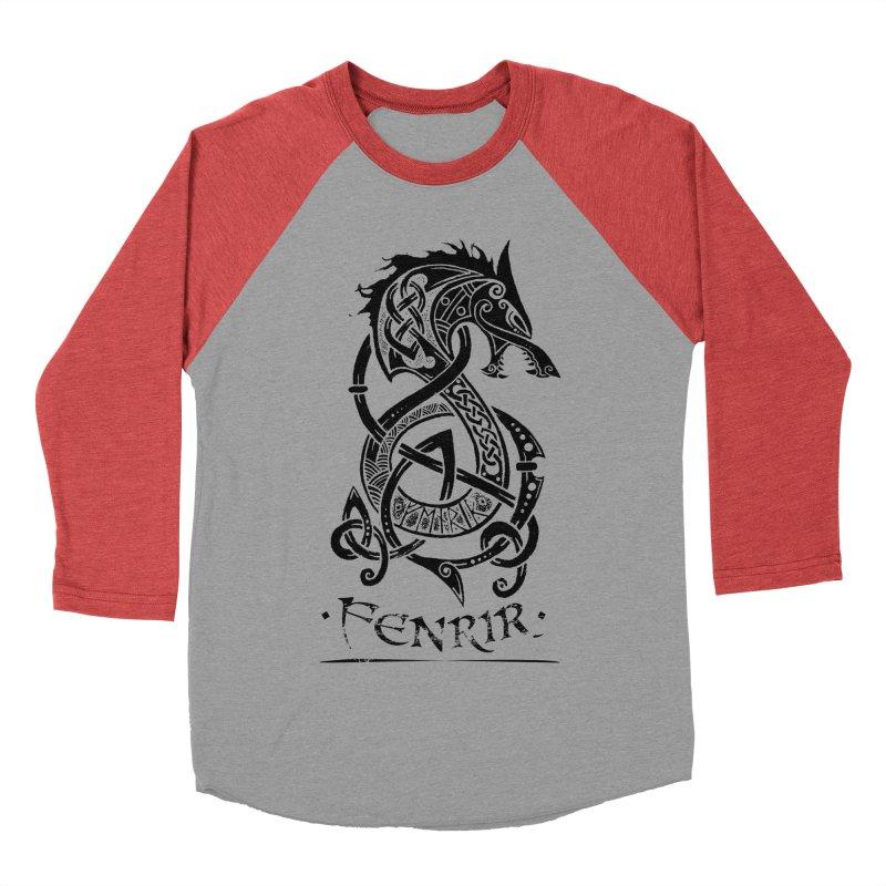 Black Fenrir Wolf Men's Baseball Triblend Longsleeve T-Shirt by Celtic Hammer Club Apparel