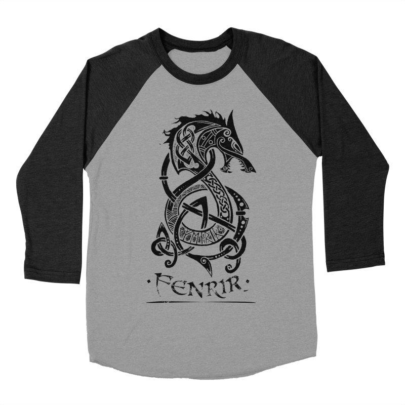 Black Fenrir Wolf Men's Baseball Triblend Longsleeve T-Shirt by Celtic Hammer Club