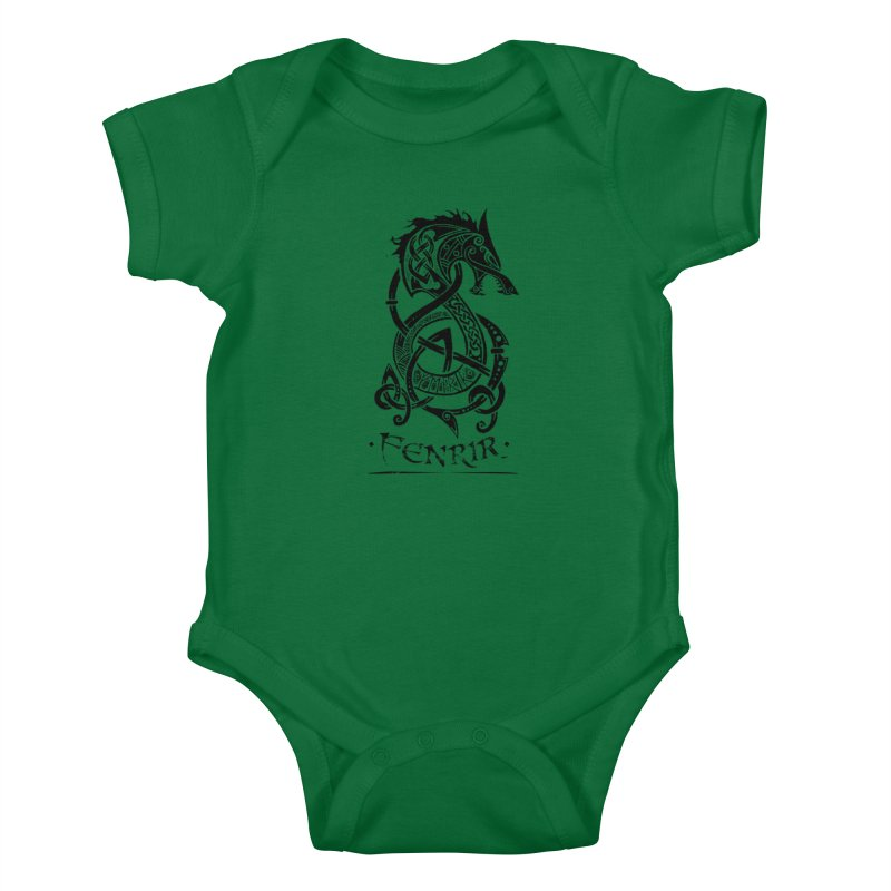 Black Fenrir Wolf Kids Baby Bodysuit by Celtic Hammer Club