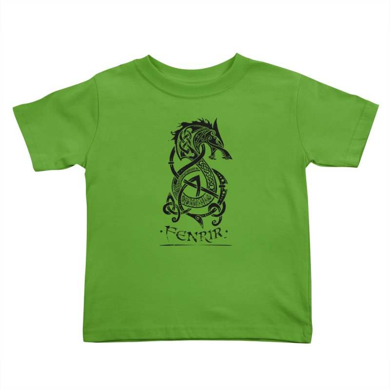 Black Fenrir Wolf Kids Toddler T-Shirt by Celtic Hammer Club