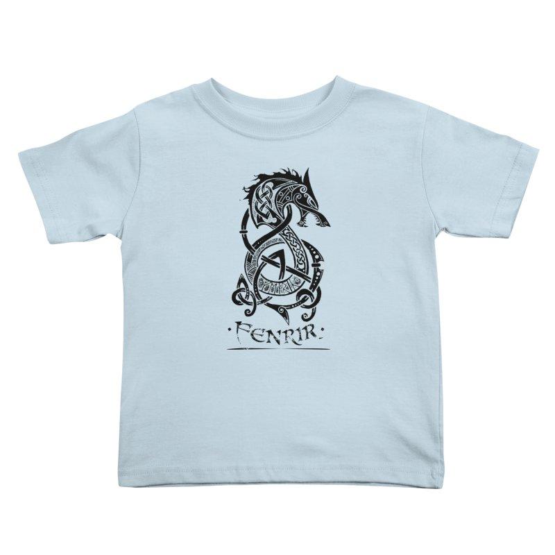 Black Fenrir Wolf Kids Toddler T-Shirt by Celtic Hammer Club