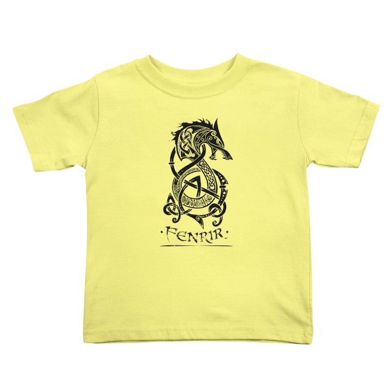 Black Fenrir Wolf Kids Toddler T-Shirt by Celtic Hammer Club Apparel