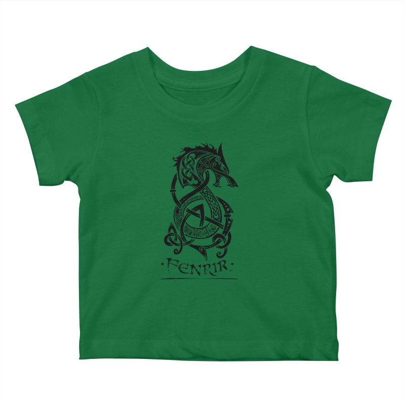 Black Fenrir Wolf Kids Baby T-Shirt by Celtic Hammer Club
