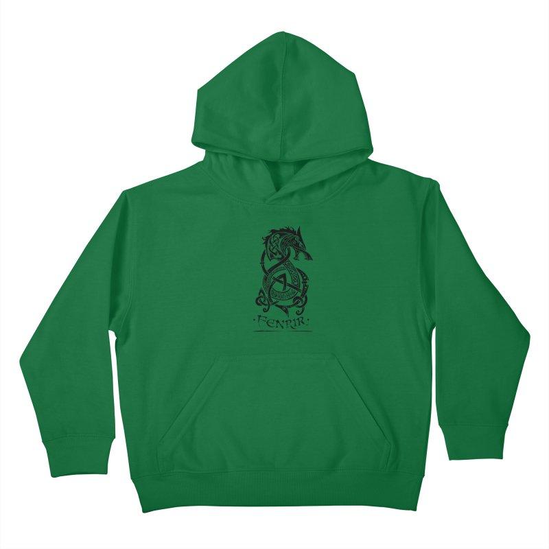 Black Fenrir Wolf Kids Pullover Hoody by Celtic Hammer Club