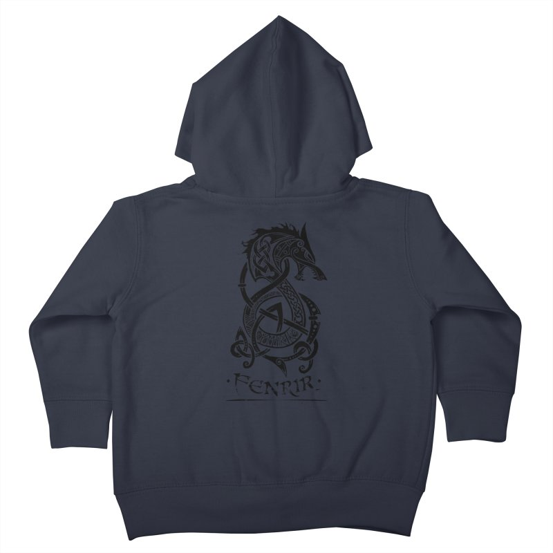 Black Fenrir Wolf Kids Toddler Zip-Up Hoody by Celtic Hammer Club