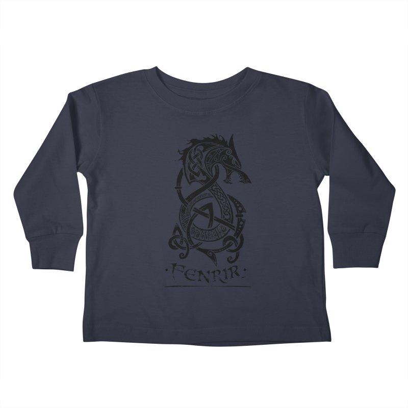 Black Fenrir Wolf Kids Toddler Longsleeve T-Shirt by Celtic Hammer Club