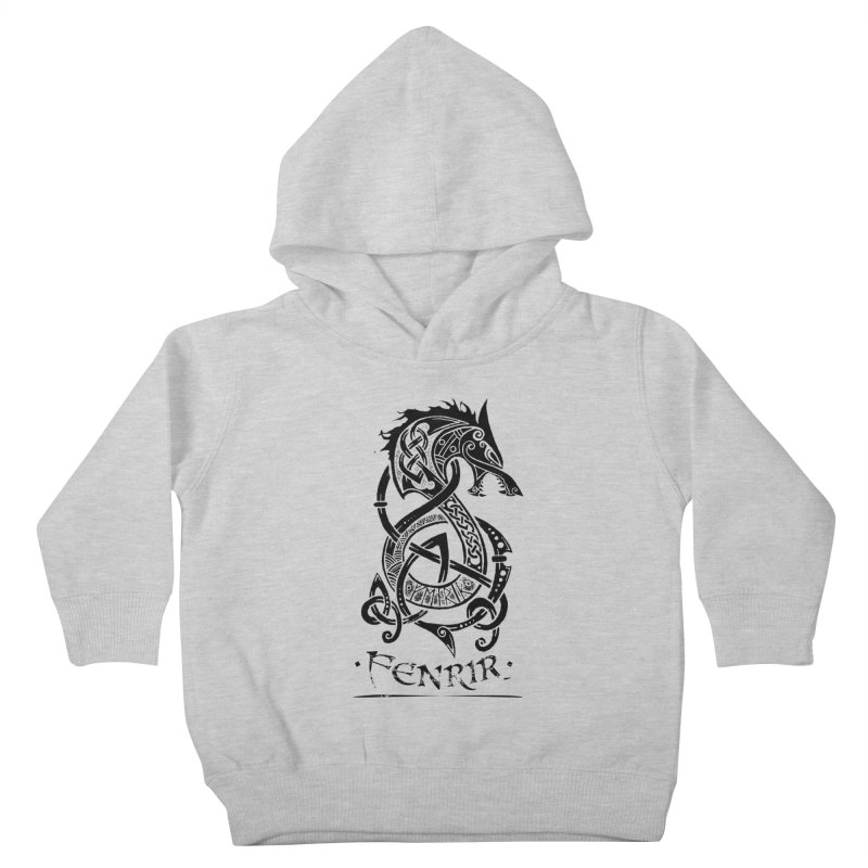 Black Fenrir Wolf Kids Toddler Pullover Hoody by Celtic Hammer Club