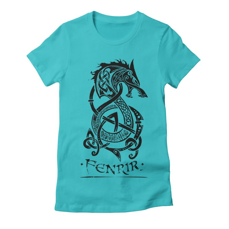 Black Fenrir Wolf Women's Fitted T-Shirt by Celtic Hammer Club Apparel