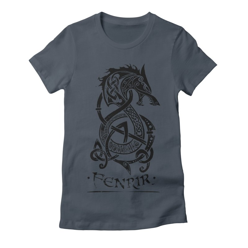 Black Fenrir Wolf Women's T-Shirt by Celtic Hammer Club