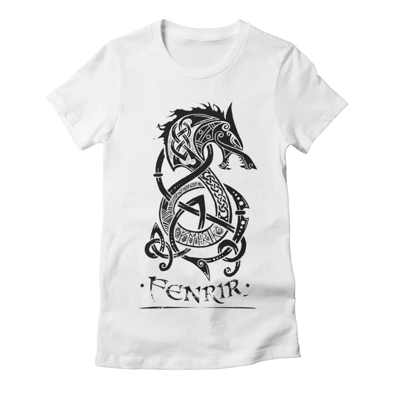 Black Fenrir Wolf Women's Fitted T-Shirt by Celtic Hammer Club