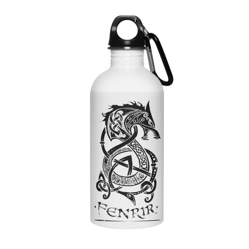 Black Fenrir Wolf Accessories Water Bottle by Celtic Hammer Club Apparel