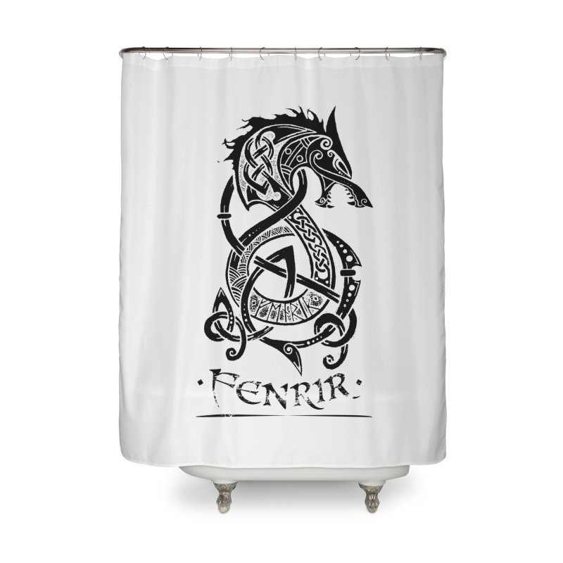 Black Fenrir Wolf Home Shower Curtain by Celtic Hammer Club