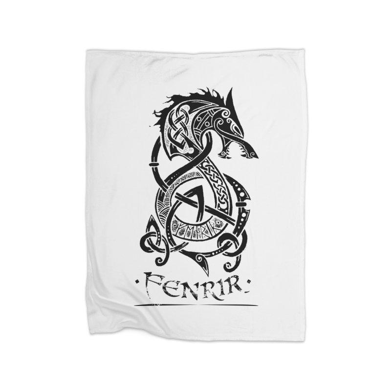 Black Fenrir Wolf Home Blanket by Celtic Hammer Club Apparel