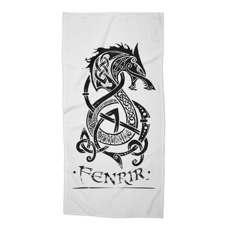 Black Fenrir Wolf Accessories Beach Towel by Celtic Hammer Club Apparel