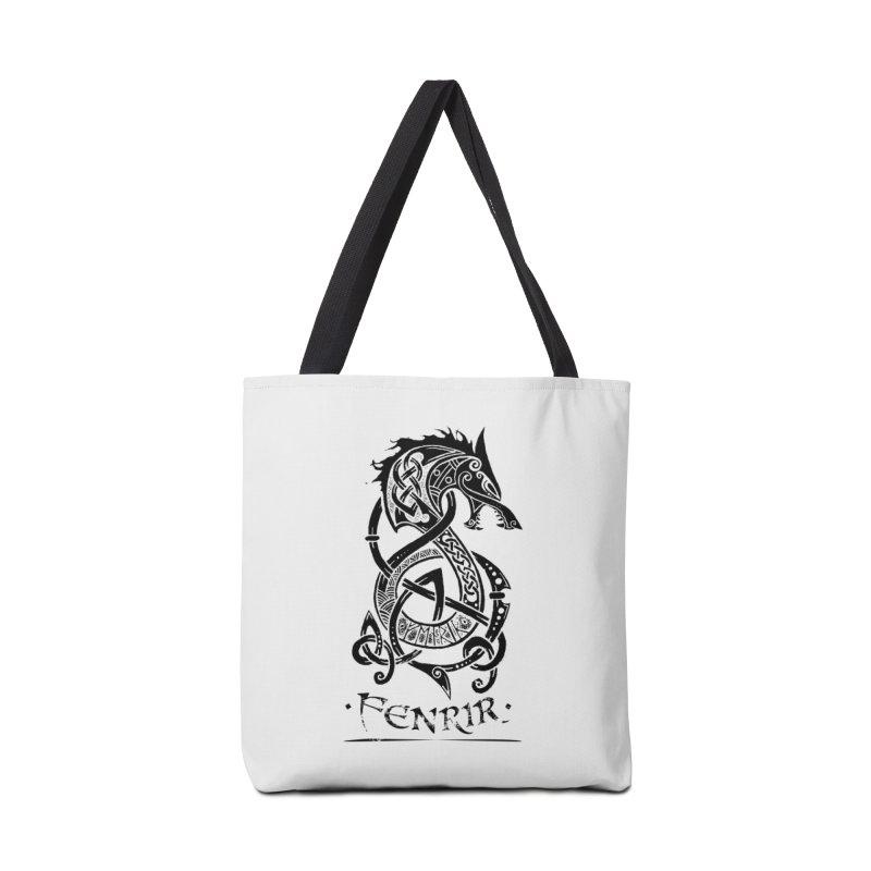 Black Fenrir Wolf Accessories Bag by Celtic Hammer Club Apparel