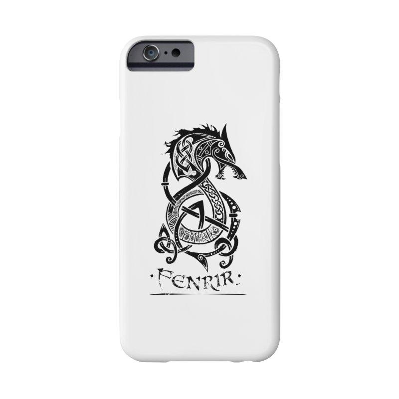 Black Fenrir Wolf Accessories Phone Case by Celtic Hammer Club