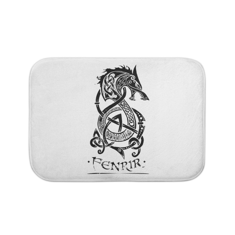 Black Fenrir Wolf Home Bath Mat by Celtic Hammer Club