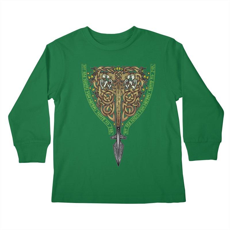 Tip of the Spear (Ancestors) Kids Longsleeve T-Shirt by Celtic Hammer Club