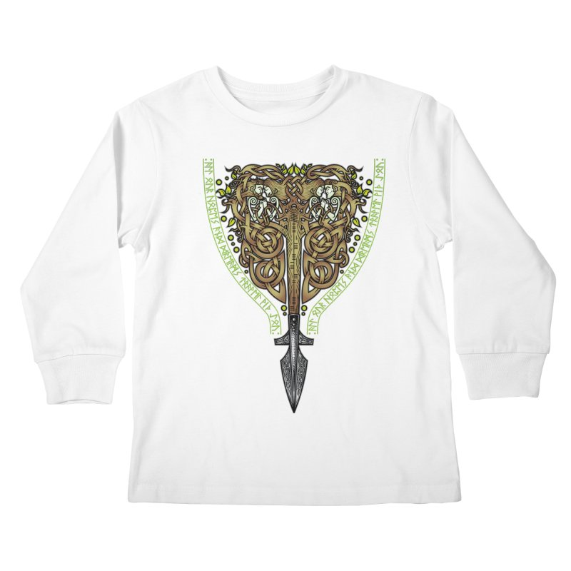 Tip of the Spear (Ancestors) Kids Longsleeve T-Shirt by Celtic Hammer Club