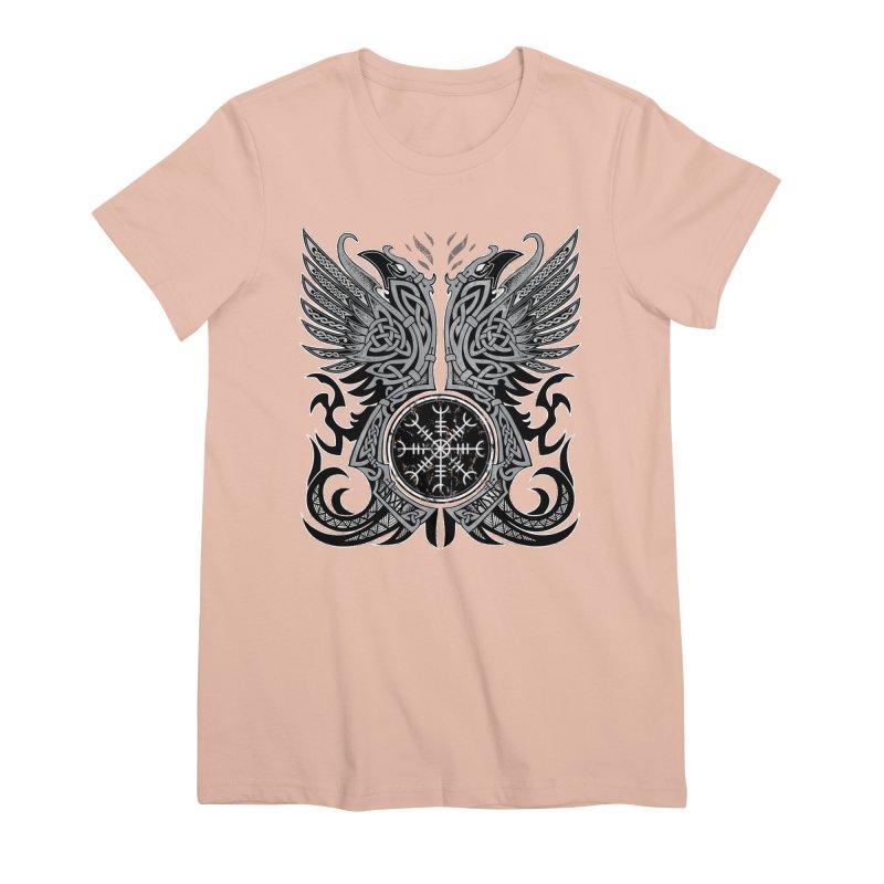Huginn & Muninn, Odin's Ravens Women's Premium T-Shirt by Celtic Hammer Club