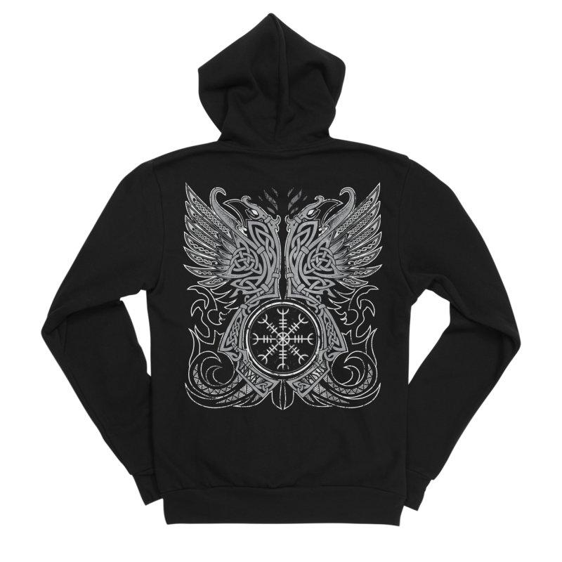 Huginn & Muninn, Odin's Ravens Men's Sponge Fleece Zip-Up Hoody by Celtic Hammer Club