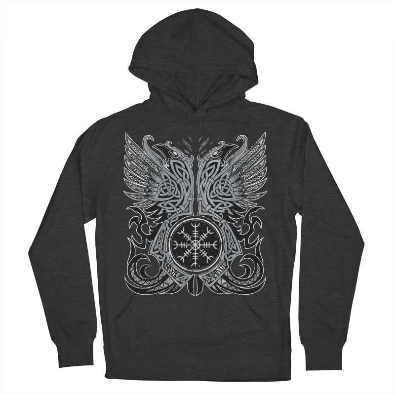 Huginn & Muninn, Odin's Ravens Men's French Terry Pullover Hoody by Celtic Hammer Club